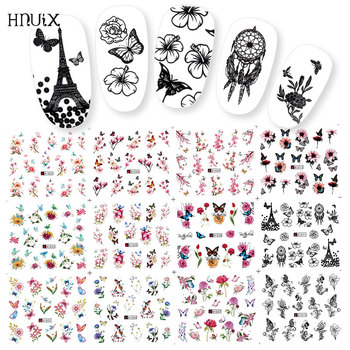 HNUIX 12 pieces water nail decals decal black flowers leaf transfer Nail Art decorations slider manicure watermark leaf tips 1pc water nail stickers decal marine life flamingo leaf transfer nail art decorations slider manicure watermark foil tips