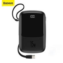 Baseus carregador portátil 4 saídas, banco de energia 10000mah 15w com entrada digital, bateria portátil para carregamento samsung ip samsung,