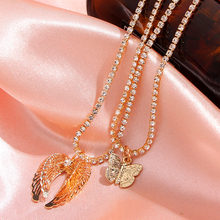 Cender Trendy New Charm Gold Color Wings Pendant Necklace for Women Crystal Chain Choker Necklace Fashion Jewelry 2020 Gift trendy female 12 constellation pendant necklace charm gold chain zodiac sign choker necklaces for women men collar jewelry gift