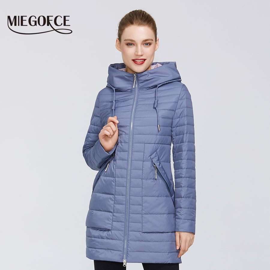 MIEGOFCE 2020 Spring-Autumn New Collection Women's Cotton Jacket Medium Long Resistant Collar With A Hood Zipper With
