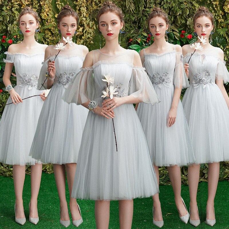 Bridesmaid Dresses Gray Appliques Wedding Guest Gowns Boat Neck Off The Shoulder Formal Dress Knee-Length Elegant Vestidos R056