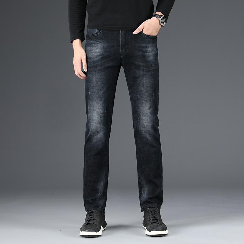 Male Jeans Men Men'S Jean Homme Denim Slim Fit Pants Trousers Straight Black Biker Business Casual Stretch Soft High Quality