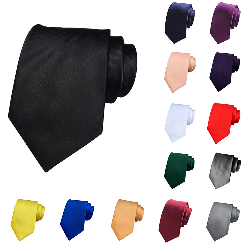 Fashion 8cm Solid Ties For Man Formal Dress Luxury Silk 1200pin Satin Tie Wedding Business Black Red Blue Gravatanecktie Party