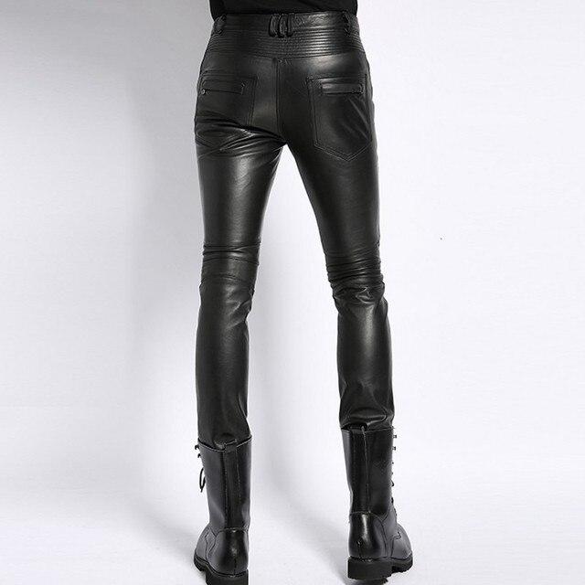 Genuine Leather Male Pants 2020 Autumn Korean Fashion Biker Casual Soft Slim Full Length Pant Straight High Street Trouser Man 2