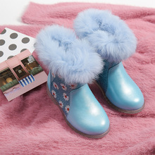 Winter Toddler Girls Boots Velvet Warm Snow Boots Plush Princess Shoes Printed Flowers Solid Non slip Waterproof Blue Kids Shoes