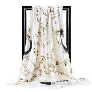 Image 4 - ผ้าพันคอผ้าไหมผู้หญิงพิมพ์ผมคอผ้าพันคอสุภาพสตรีผ้าคลุมไหล่ผ้าพันคอ 90*90 ซม.มุสลิม Hijab ผ้าเช็ดหน้า muffler foulard