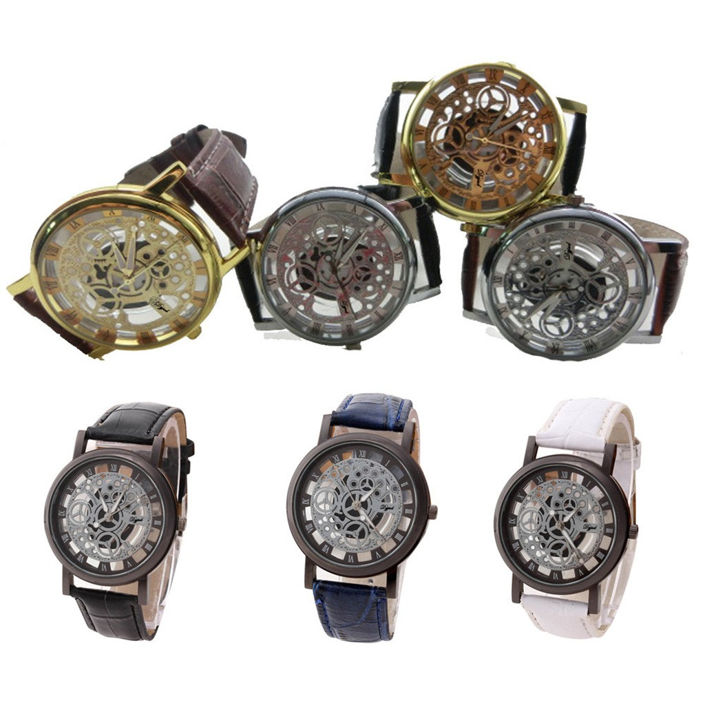 Fashion watches Men Retro design hollow out Stainless Steel Dial Quartz Military Sport Leather Band Dial Wrist Watch relogio W3 2