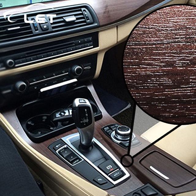 high quality Self-adhesive Vinyl Wood Grain Textured Car Wrap Car Internal Stickers Wallpaper Furniture Wood Grain Paper Film(China)