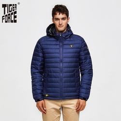 TIGER FORCE Men Spring Jacket Fashion Cotton Padded Jackets Casual Coat Detachable Hood Parka Windbreaker Man Puffy Coats