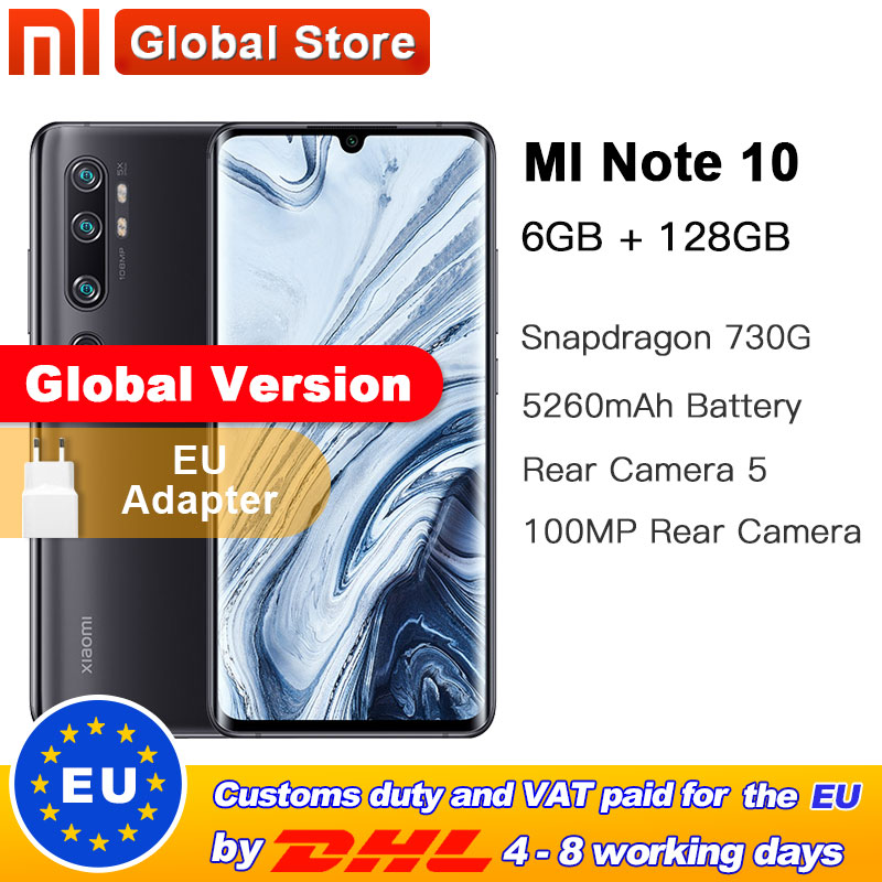 New Global Version Xiaomi Note 10 6GB 128GB 108MP Penta Camera Smarphone 5260mAh Battery 10x Optical Zoom Double Curved Screen
