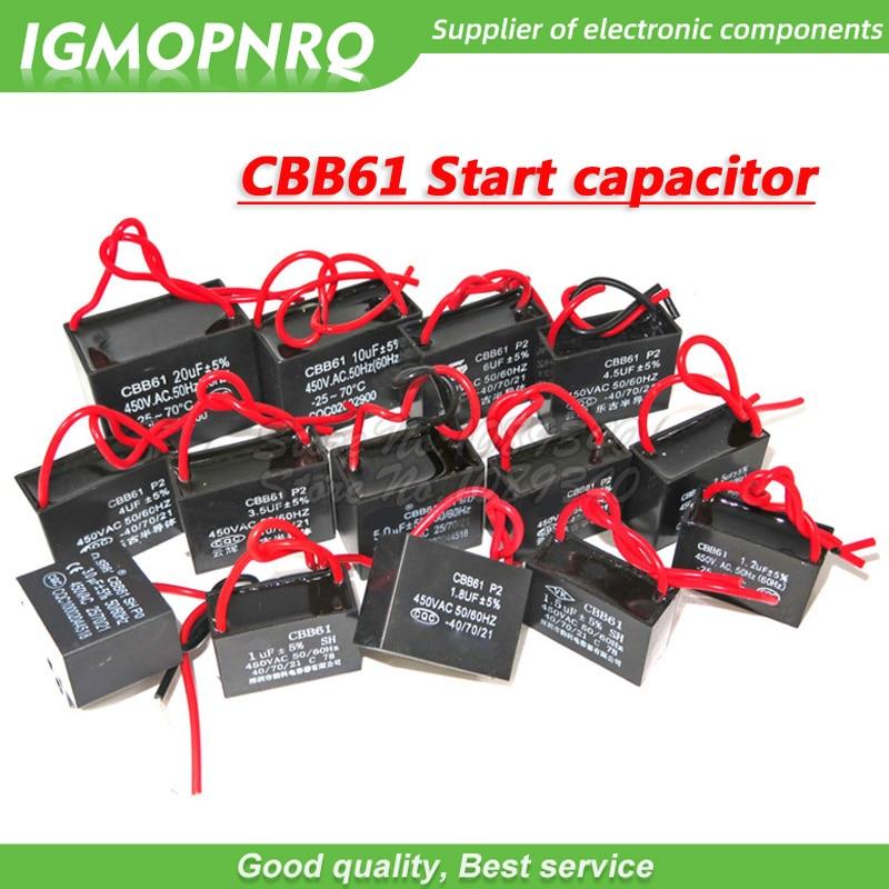 1pcs CBB61 Starting Capacitance AC Fan Capacitor 450V CBB Motor Run Capacitor 1UF 1.2UF 1.5UF 2UF 2.5UF 3UF 5UF 10UF  12UF 16UF