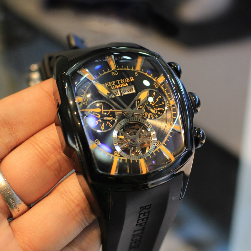 Reef Tiger/RT Top Brand Luxury Big Watch for Men Blue Dial Mechanical Tourbillon Sport Watches Relogio Masculino RGA3069(China)