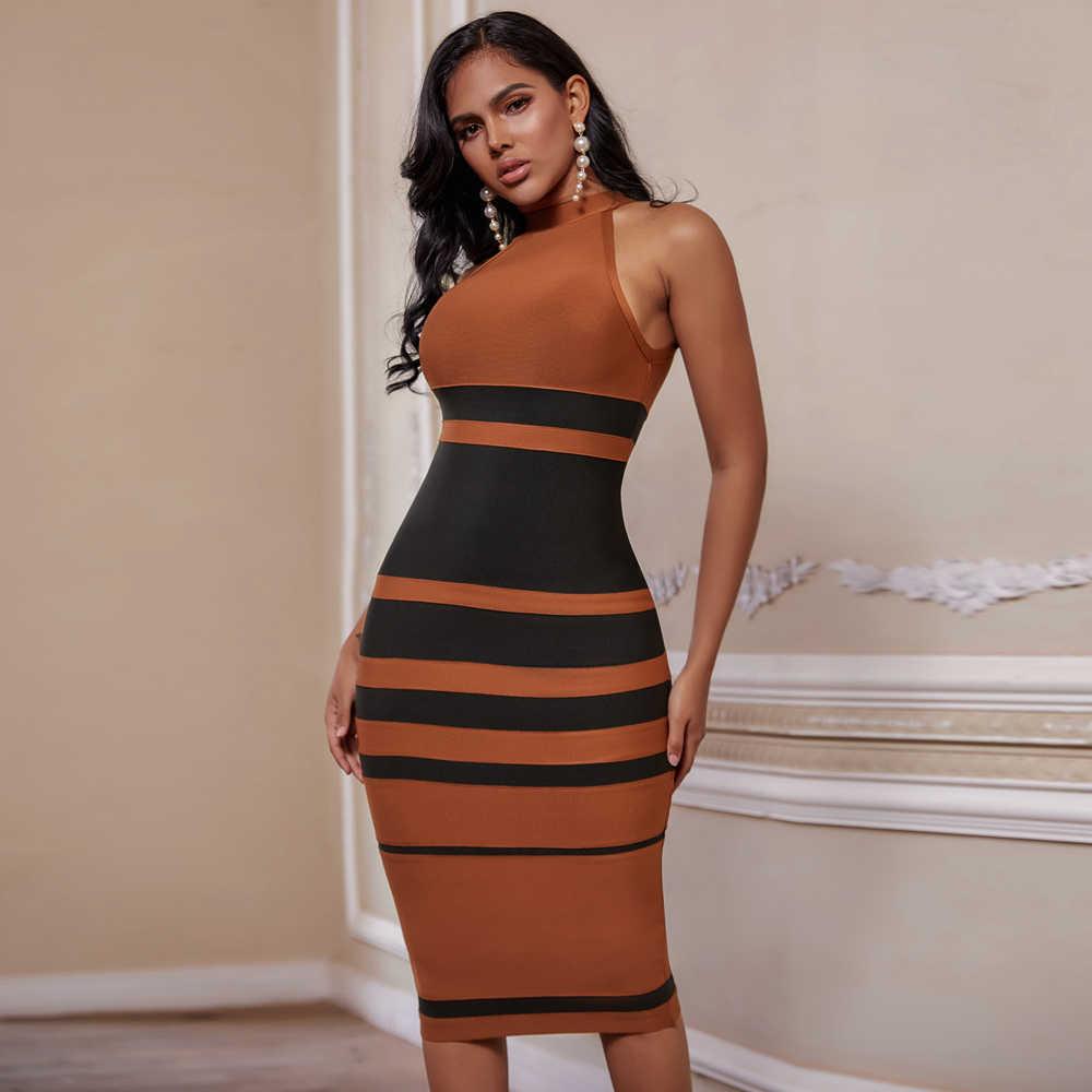 Ocstrade 새로운 도착 붕대 드레스 2020 여성 브라운과 블랙 스트라이프 붕대 드레스 Bodycon 연예인 이브닝 클럽 파티 드레스