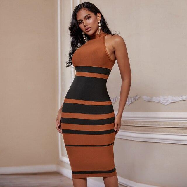 new york store Round Neck Sleeveless Over Knee Striped Bandage Dress