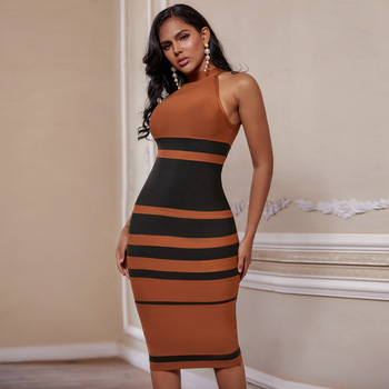Ocstrade New Arrival Bandage Dress 2020 Women Brown and Black Striped Bodycon Celebrity Evening Club Party