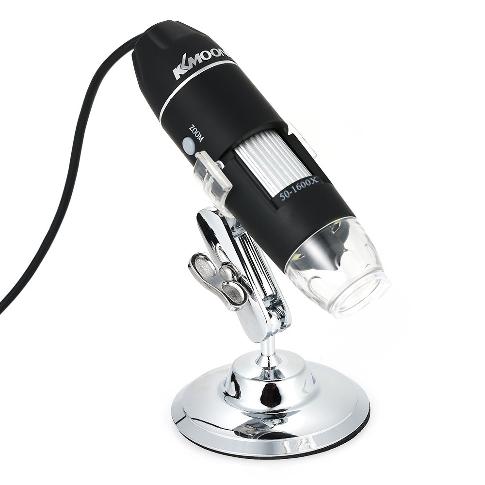 KKmoon 1600X Magnification USB Digital Microscope with OTG USB Endoscope 8-LED Light Magnifying Glass Magnifier with Stand