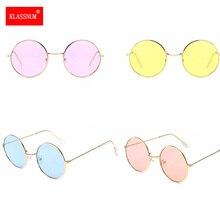 1pc Women Round novelty sunglasses New Hip hop Style Color Lenses Retro Glasses Unisex Metal Frame Retro Oval Sunglasses Hot
