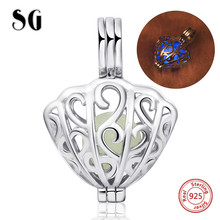 SG new arrival sterling silver 925 charms glowing shell pendant beads fit original pandora bracelet diy jewelry making gifts цена и фото