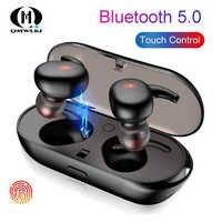 Fones De Ouvido Bluetooth 5.0 Sem Fio Fones De Ouvido fone de Ouvido Esportes 3D TWS Som Stereo Earbud com Microfone e caixa De Carregamento Portátil