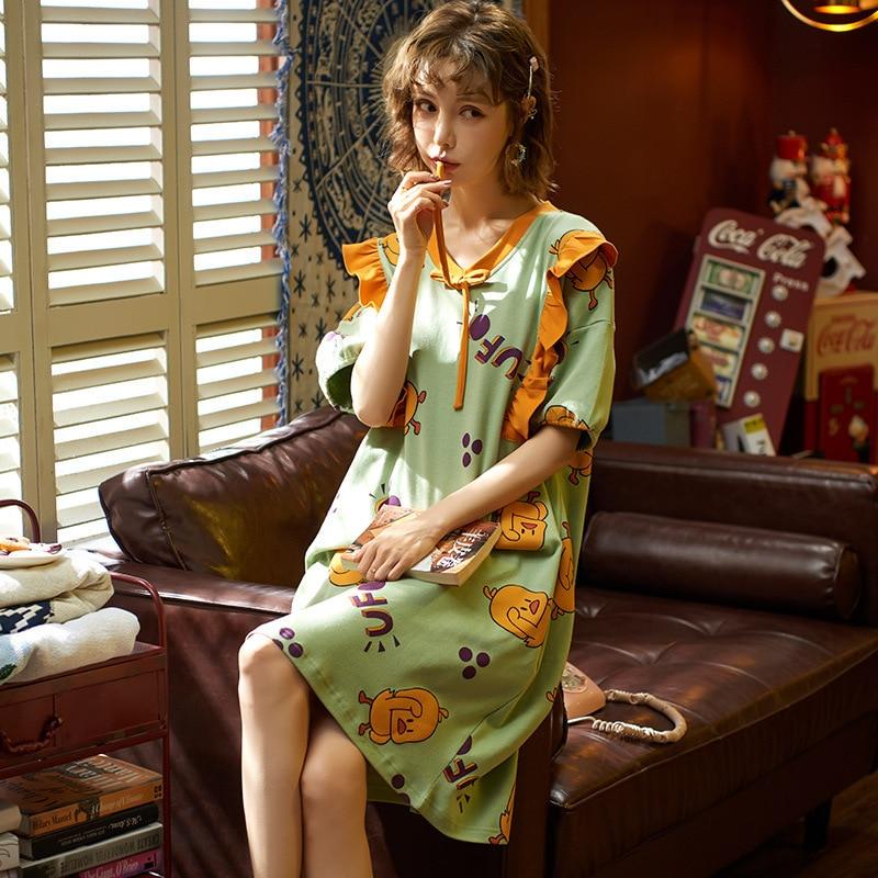 2020 New Spring Summer Nightdress Lovely Women's Sleepwear Soft Cotton Casual Home Wear Cartoon Ladies Nightwear Big Size Pijama 17