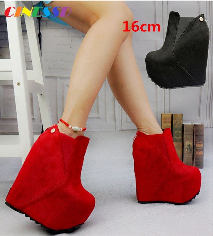 Postage fashion new red Christmas women's boots 16cm super high heels Waterfront Hate High Slope with short boots image