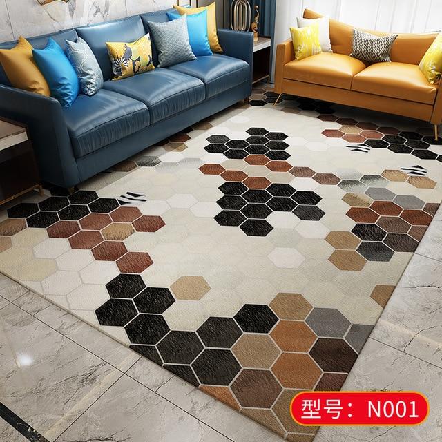 Alfombra estampada de cuero de vaca de imitación para dormitorio, moderna alfombra nórdica de piel falsa, alfombra grande para decoración de sala de estar, alfombras y alfombras para el hogar