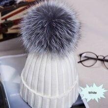 Зимние женские шапки с помпонами, теплые вязаные с помпоном, шапки с меховым помпоном для девочек, настоящий помпон из меха енота, Повседневная Шапка Кепка