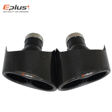 Nozzle Muffler-Tip Exhaust-Pipe Carbon-Fiber Silver EPLUS Stainless-Steel Glossy Universal