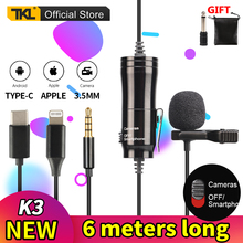 TKL Omnidirectional Metal Microphone 3.5mm Jack Lavalier Tie Clip Microphone for Computer Camera Phone Recording Microphone uhf wireless lavalier microphone 100 channel lapel microphone for phone video slr camera recording live interview tkl pro wm 8