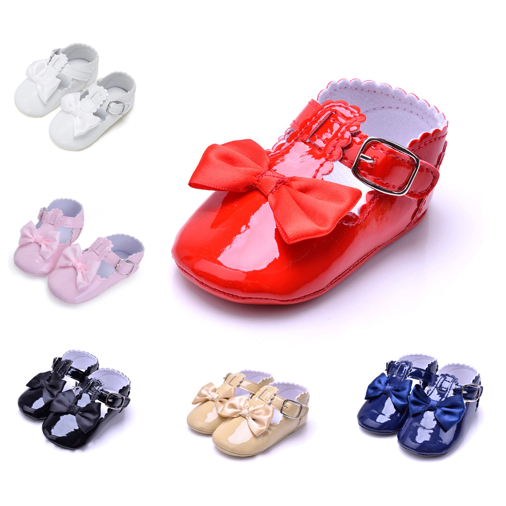 Baby Girl Shoes Newborn Toddler Boy Soft Sole PU Leather Butterfly-knot Infant Anti-Slip Easy On Off Prewalker Baby Crib Shoes