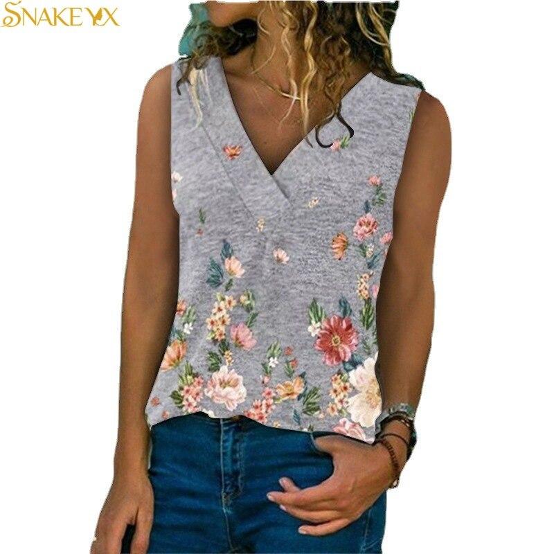 Snake yx feminino topo 2021 verão nova moda flores impresso decote em v sem mangas casual plus size camisola fina e confortável