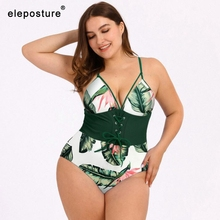 2020 Vintage Retro Plus Size Swimwear Women One Piece Swimsuit Push Up Monokini Large Size Bathing Suits Beachwear Swimming Suit