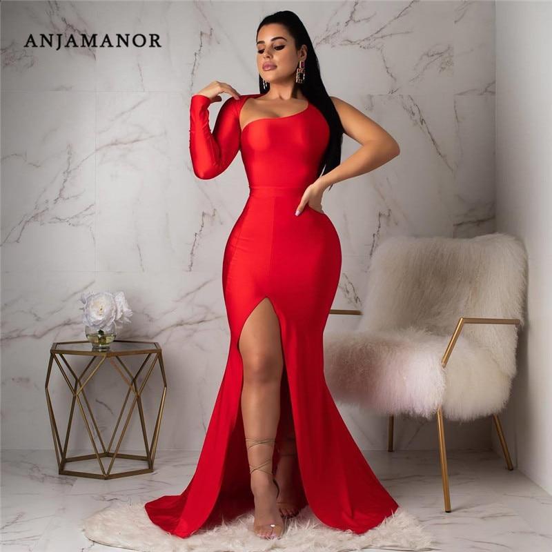 ANJAMANOR Sexy Party Kleider für Frauen Solide Schulter Backless Langarm Hohe Split Maxi Kleid Schwarz Rot Blau D53-CC32