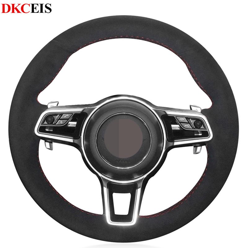DIY Hand stitched Black Soft Suede Car Steering Wheel Cover for Porsche Macan Cayenne 2016 2015|Steering Covers| |  - title=