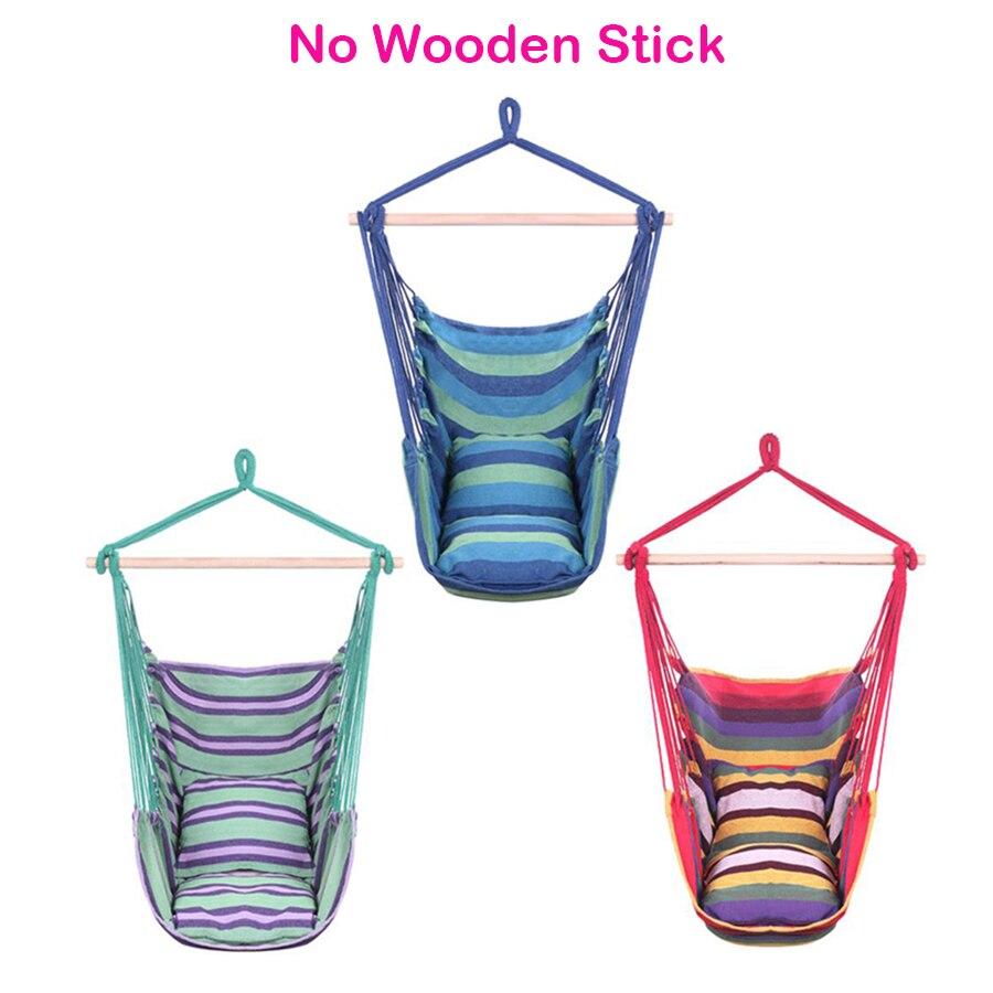 Corde suspendue chaise hamac jardin balançoire toile de coton avec oreiller Multi couleur raffinée Texture douce décoration de la maison