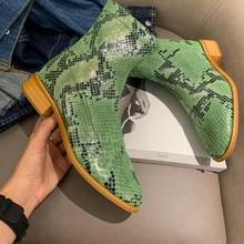 2019 autumn new short boots womens fashion green snake pattern flat Chelsea side zipper Martin Casual