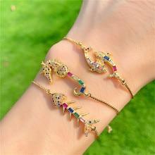 Bohemian Zircon Bracelet Gold Adjustable Micro-Inlay Colored Bangle Ocean Wind Dolphin Jewelry Fashion