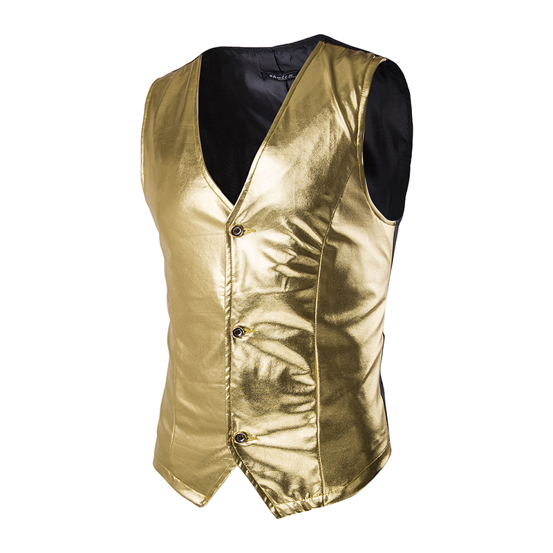 M-2XL Spring New Fashion Mens Bronzing Fabric Vest Casual Men's Tide Single-breasted Business Vest For Young Party Gold Silver