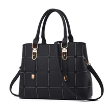 PU Leather Large Capacity Woman Handbag Grid Shoulder Bag Fashion Casual