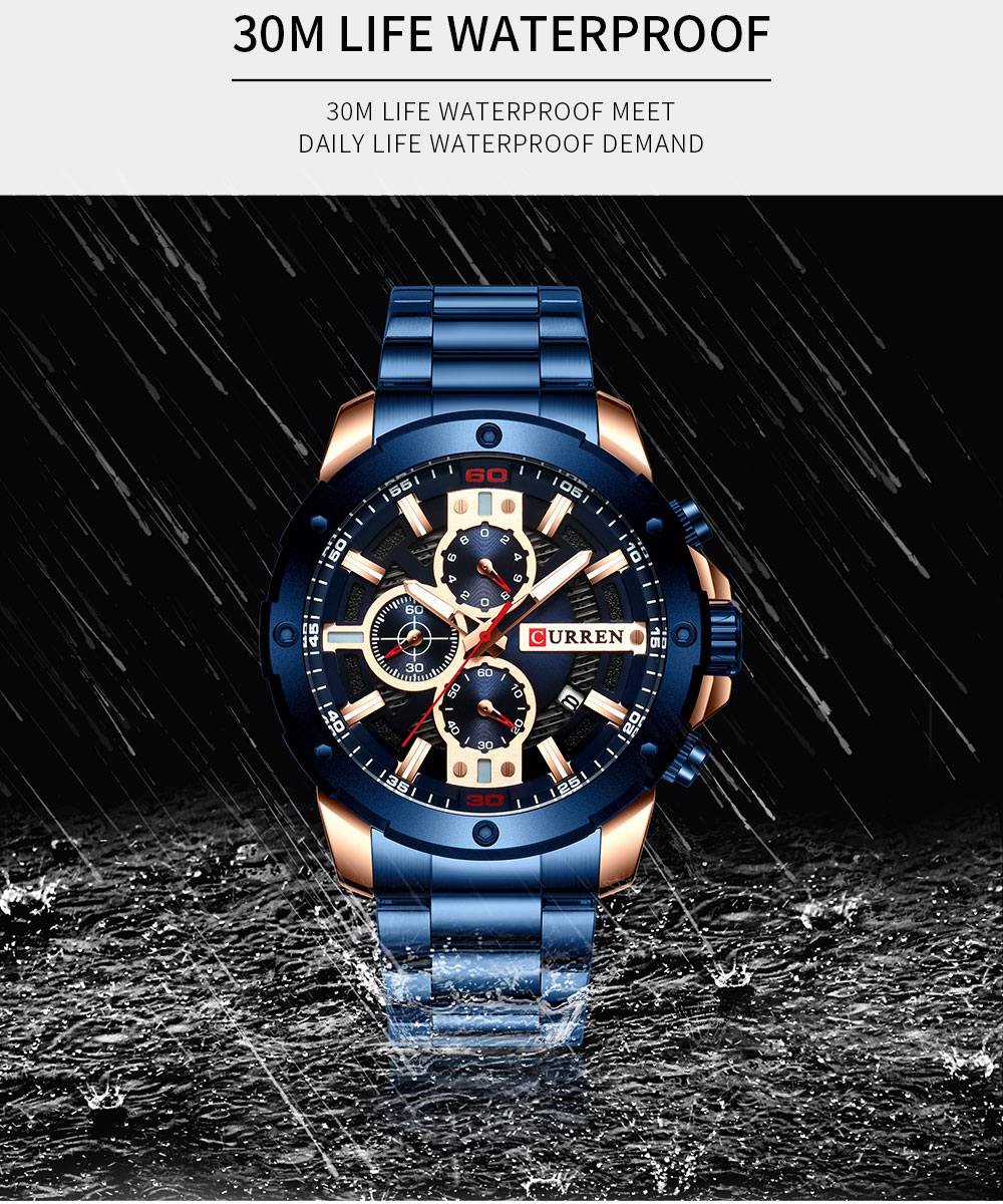 quartzo relógio cronógrafo militar masculino moda desportivo à prova dwaterproof água 8336