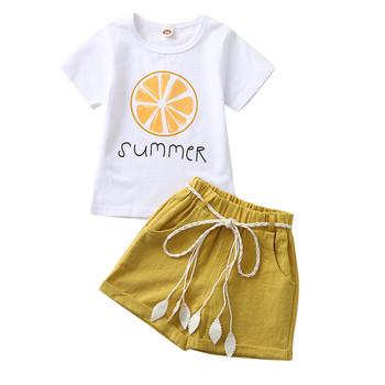 ARLONEET noworodek dziewczynka chłopiec maluch lato kolorowy garnitur pomarańczowy nadruk krótki rękaw jednolity kolor szorty przystojny garnitur dla dzieci tanie i dobre opinie Moda CN (pochodzenie) O-neck Sweter Child Clothes Set COTTON Poliester Dziewczyny REGULAR Pasuje prawda na wymiar weź swój normalny rozmiar