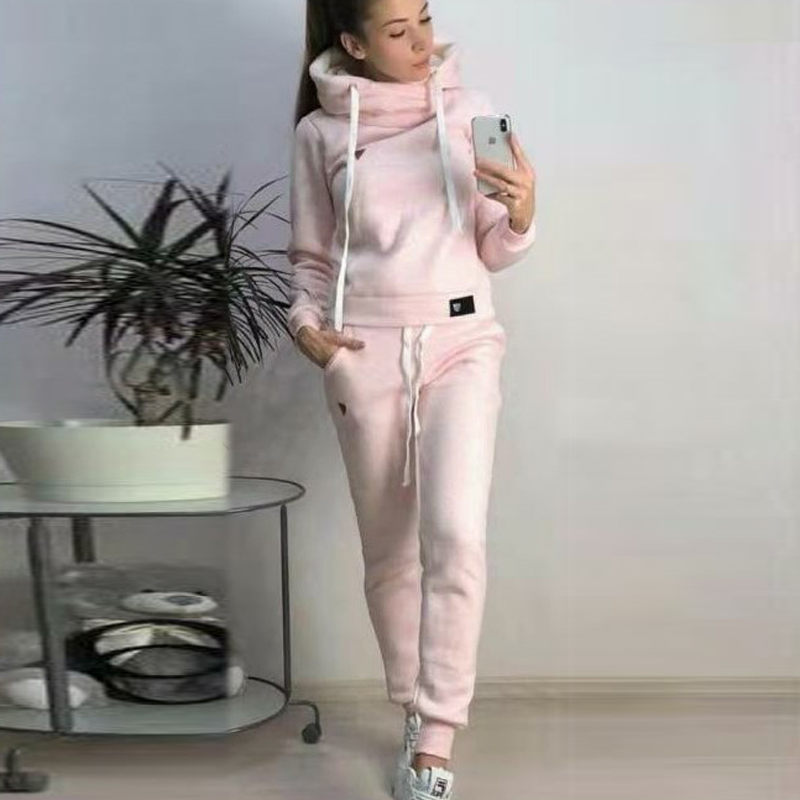 Casual 2 Piece Set Women Hoodies Pant Clothing Set Autumn Winter Warm Tracksuit Solid Color Women Set Top Pants Ladies Suit