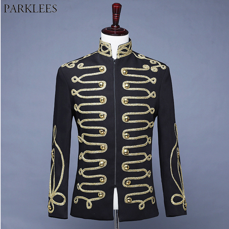 Men's Steampunk Military Drummer Blazer Jacket Stand Collar Zipper Punk Gothic Parade Jacket Men Prom Vintage Suit Jacket Male