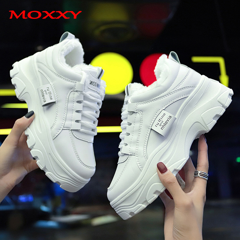 2019 New Women's Winter Sneakers With Fur Warm Plush Fashion White Dad Sneaker Ladies Chunky Sneaker Platform Casual Shoes Woman