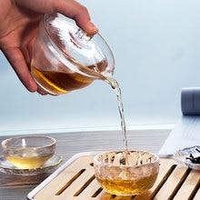 Японский стиль, стеклянный gaiwan, чайная чашка с крышкой, золотой цвет, Gongfu чайная чаша, китайский чай, 150 мл