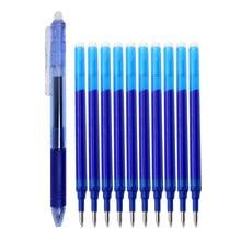 11 pièces/lot 0.5mm effaçable stylo à bille ensemble bleu/noir/vert/rouge encre magique effaçable recharge pour école bureau étudiant écriture outil