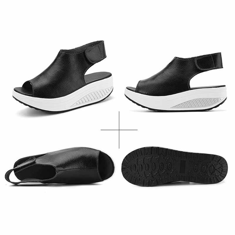 Vrouwen Wiggen Platform Sandalen Mode Hoge Hakken Peep Toe Zomer Schoenen Casual Klittenband Helling Dikke Bodem Zacht Lopen sandalen