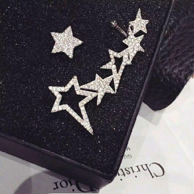 New Arrival Geometric Metal Women Vintage Stud Earrings Star Earrings  Female Fashion Asymmetric  Korean Jewelry