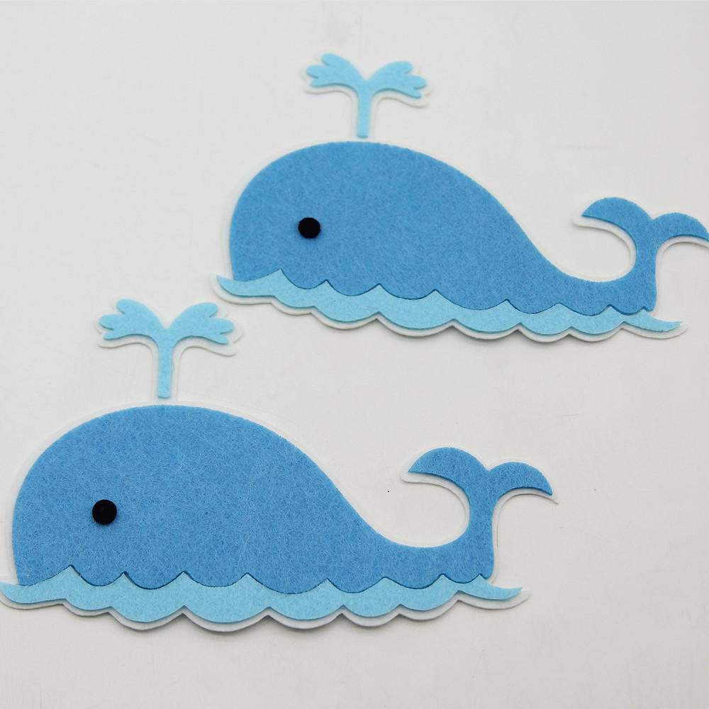 2pc Blue Whale Handmade DIY Felt Fabric Wall Sticker Cloth Cutting Felts For Home Kids Room Decoration Child Education Felt Pads