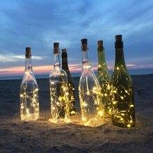 2 м светодиодный Гирлянды Гирлянда медная проволока нить с пробкой сказочные огни светильники в форме винных бутылок для рождества Валентина свадебные украшения